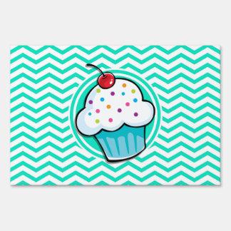 Cute Cupcake Aqua Green Chevron Lawn Sign