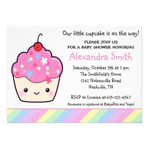 Cute Cupcake Baby Shower Announcement
