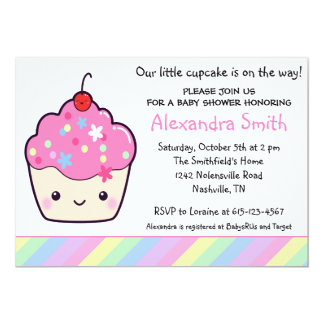 Cute Cupcake Baby Shower Announcement