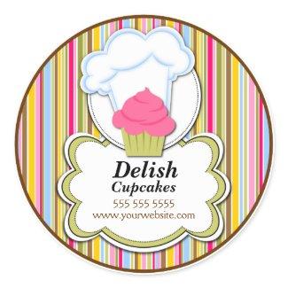 Cute Cupcake & Baker's Hat Bakery Stickers sticker