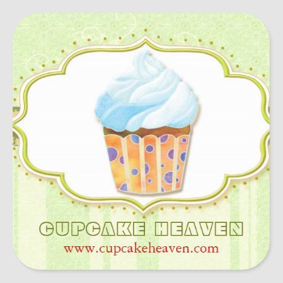 Cute Cupcake Bakery Business Product Label Square Sticker