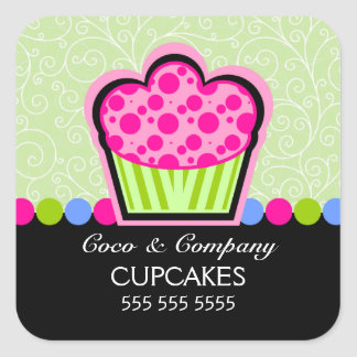 Cute Cupcake Bakery Green Stickers