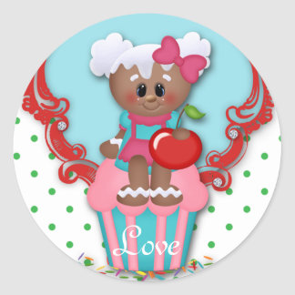 Cute Cupcake Bakery Love Baby Shower Kids Sticker
