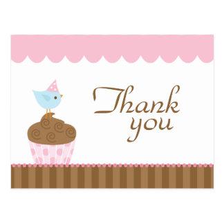 Cute cupcake bird girl's thank you post card