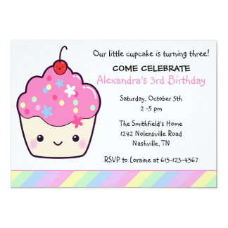 Cute Cupcake Birthday 5x7 Paper Invitation Card