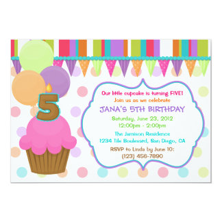 Cute Cupcake Birthday Invitation [five]