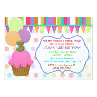 Cute Cupcake Birthday Invitation [three]