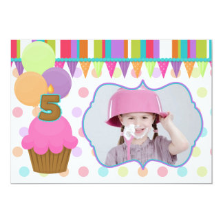 Cute Cupcake Birthday Photo Invitation [five]
