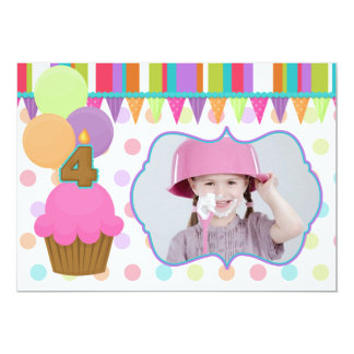 Cute Cupcake Birthday Photo Invitation [four]