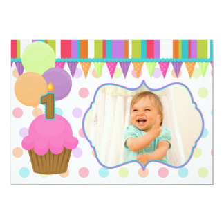 "Cute Cupcake Birthday Photo Invitation [one] 5"" X 7"" Invitation Card"