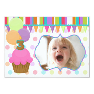 Cute Cupcake Birthday Photo Invitation [three]