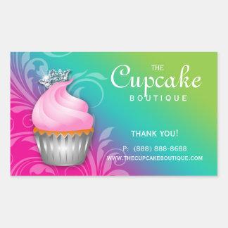 Cute Cupcake Birthday Sticker Crown Pink Green
