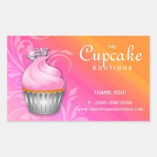 Cute Cupcake Birthday Sticker Crown Pink Orange