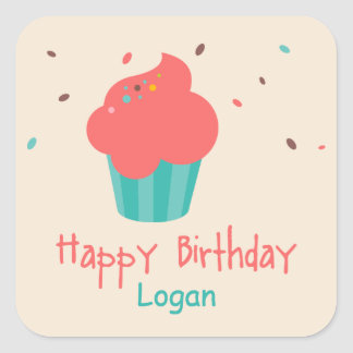 Cute Cupcake Birthday Wishes Square Sticker