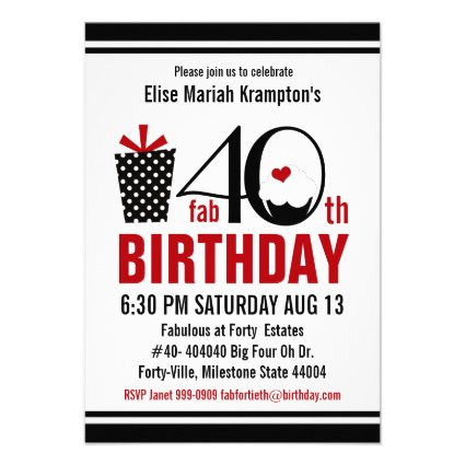 Cute Cupcake Black and Red 40th Birthday Custom Invitations