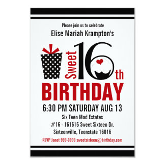 Cute Cupcake Black and Red Sweet 16 Birthday 3.5x5 Paper Invitation Card