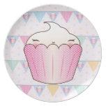Cute Cupcake Bunting Pattern Dinner Plates