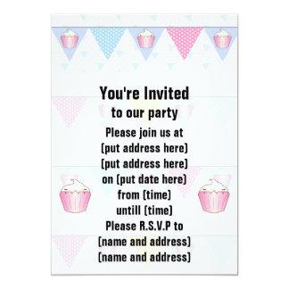 Cute Cupcake Bunting Pattern 5x7 Paper Invitation Card