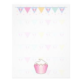 Cute Cupcake Bunting Pattern Letterhead