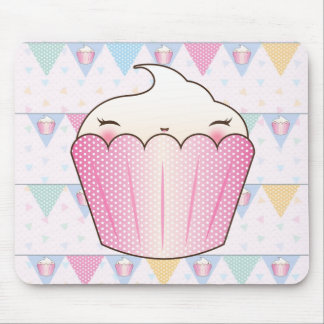 Cute Cupcake Bunting Pattern Mouse Pad