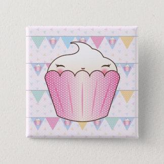 Cute Cupcake Bunting Pattern Pinback Button