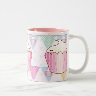 Cute Cupcake Bunting Pattern Two-Tone Coffee Mug