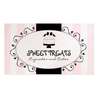 Cute Cupcake Cake Bakery Pink Black Stripes Business Card