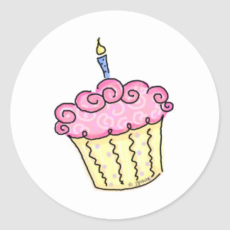 Cute Cupcake Classic Round Sticker