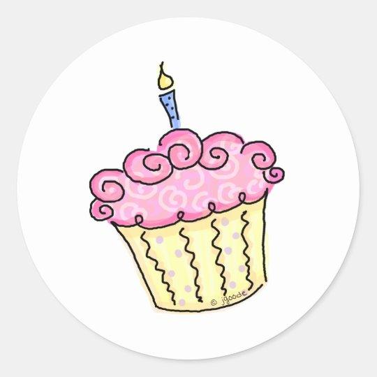 Cute Cupcake Classic Round Sticker