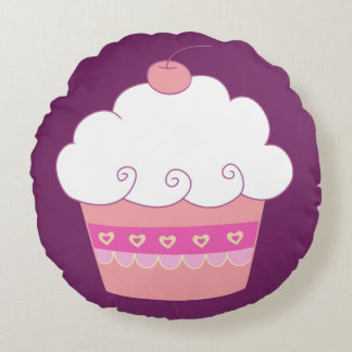 Cute Cupcake Delight Round Pillow