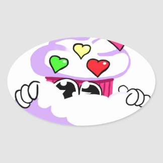 Cute Cupcake Design Oval Sticker