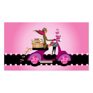 Cute Cupcake & Dogs Zebra Scooter Woman Double-Sided Standard Business Cards (Pack Of 100)