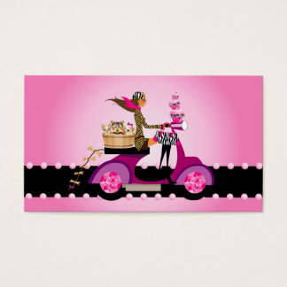 Cute Cupcake & Dogs Zebra Scooter Woman Business Card