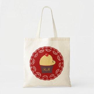 Cute Cupcake -Doily Lace Custom Text Canvas Bags