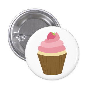 Cute Cupcake Illustration Button
