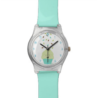 Cute Cupcake in Aqua and Lime Wristwatches