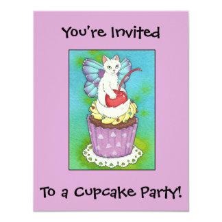 Cute Cupcake Kitty Cat Fairy Birthday Invitation