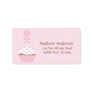 CUTE Cupcake Lollipop Return Address Label