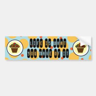 Cute Cupcake on Orange Blue Yellow Polka Dots Car Bumper Sticker