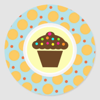 Cute Cupcake on Orange Blue Yellow Polka Dots Classic Round Sticker