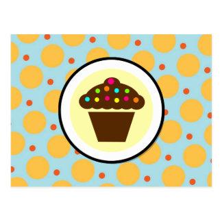 Cute Cupcake on Orange Blue Yellow Polka Dots Postcard
