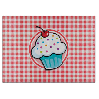 Cute Cupcake on Red and White Gingham Cutting Boards