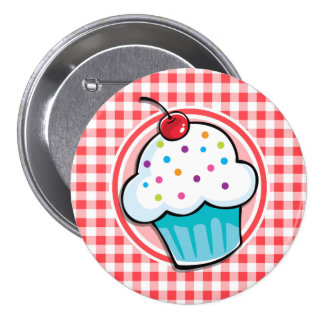 Cute Cupcake on Red and White Gingham Pinback Button