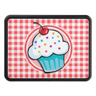 Cute Cupcake on Red and White Gingham Tow Hitch Covers