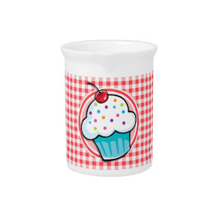 Cute Cupcake on Red and White Gingham Pitcher
