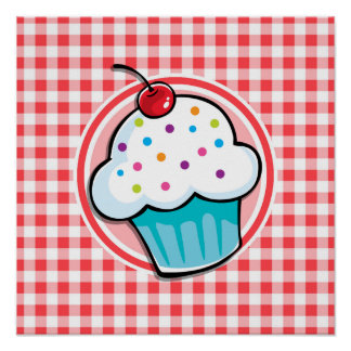 Cute Cupcake on Red and White Gingham Poster