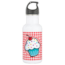 Cute Cupcake on Red and White Gingham Stainless Steel Water Bottle