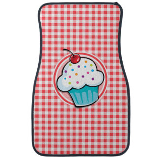 Cute Cupcake on Red and White Gingham Car Mat