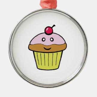 cute cupcake round metal christmas ornament