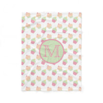 Cute Cupcake Pattern Blanket With Monogram